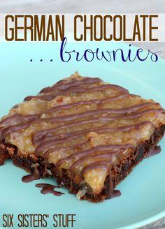 German Chocolate Brownies from SixSistersStuff.com #heaven