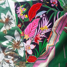 Our sequinned tropical floral with 'Amazon' print and 'Agate' chevron.  #sequin #embroidery #chevron #jungle #jungalowstyle #designboxcreative  #tropical