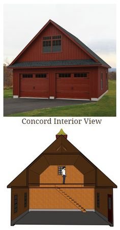 The Interior view of a Kloter Farms Concord Garage. The Interior view of a Kloter Farms Concord Garage. Pole Barn Garage, Garage Shed, Garage House, Detached Garage, Garage Workshop, Garage Doors, Workshop Ideas, Car Garage, Garage Paint