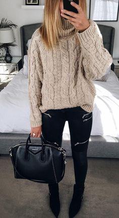 #fall #fashion · Beige Sweater + Skinny Black Pants + Leather Tote
