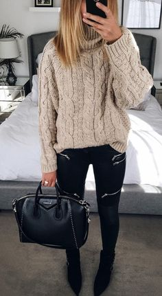 #fall #fashion ·  Beige Sweater + Skinny Black Pants + Leather Tote