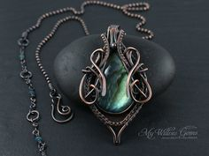 Wire Wrapped Green Flash Labradorite Necklace by MyWillowGems
