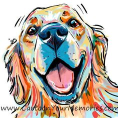 Happy Golden Retriever - Tap the pin for the most adorable pawtastic fur baby ap. Happy Golden Retriever - Tap the pin for the most adorable pawtastic fur baby apparel! You'll love the dog clothes a Golden Retriever Kunst, Perros Golden Retriever, Golden Retriever Cartoon, Golden Retrievers, Dog Portraits, Dog Art, Dog Pop Art, Animal Paintings, Lion Sculpture