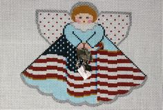 Painted Pony Designs Old Glory Angel 996AJ Hand Painted Needlepoint Canvas