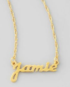 Hello all you Carrie fans. Get your own necklace, just like the one Sarah Jessica Parker made into a so very Sex and the City iconic piece. Personalized Gold Name Pendant Necklace by Moon and Lola at Neiman Marcus.