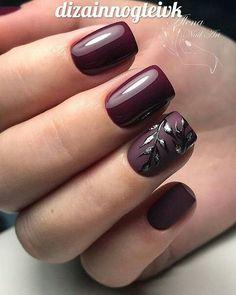 Pin by Lisa Firle on Nageldesign - Nail Art - Nagellack - Nail Polish - Nailart - Nails in 2019 Burgundy Matte Nails, Burgundy Nail Designs, Fall Nail Designs, Acrylic Nail Designs, Matte Black, Dark Red Nails, Classy Nail Designs, Blue Nail, White Nail