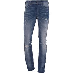 Diesel Thavar Blue Destroy // Slim fit jeans in vintage look (19.590 RUB) ❤ liked on Polyvore featuring men's fashion, men's clothing, men's jeans, mens torn jeans, mens low rise jeans, mens destroyed jeans, mens stretch jeans and mens straight jeans