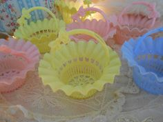 Your place to buy and sell all things handmade Pastel Pink, Pink Yellow, Vintage Party Favors, Little Bow, Yellow Wedding, Shabby Chic Cottage, Pastels, Vintage Shops, Tea Party