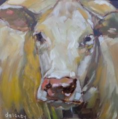 """Daily Paintworks - """"Cow 85 LARGER THAN LIFE"""" - Original Fine Art for Sale - © Jean Delaney"""