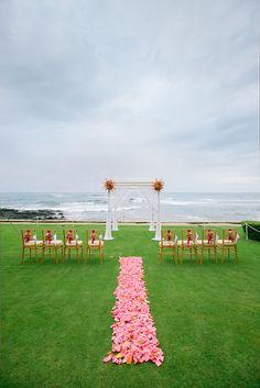 Beautiful beach wedding ceremony site {Photo by James Rubio via Project Wedding}