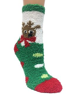 Just One Women's 6 Pack Fun Crew Christmas Fuzzy Socks 9-11 at Amazon Women's Clothing store: