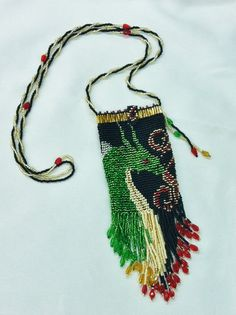 Beadwork Dragon Bag Pouch Purse with Beaded Fringe by SmpFb