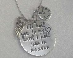 Memorial Jewelry Necklace - Urn Jewelry - Sympathy Gift - Remembrance Keepsake - Cremation Jewelry - Urn for Ashes - Loss of Loved One Beautiful hand stamped keepsake made to remember your loved one by. 7/8 aluminum disc hand stamped with still learning to live without you on it with a stainless steel heart urn and an angel wing and a birthstone drop. Want to make it more personalized? Add a 1/2 circle with a name and a heart via this link: https://www.etsy.com/listin...