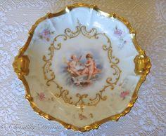 Pretty Antique French Limoges Gilded Porcelain Cherubs Bonbon Dish