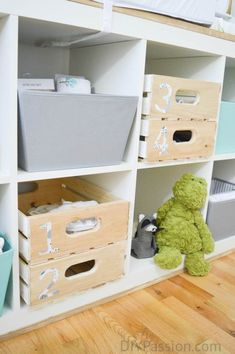 Make your own custom storage crates using Mod Podge; perfect for playroom storage and they fit in IKEA shelving units! Craft Room Storage, Crate Storage, Storage Bins, Storage Organization, Organizing, Nautical Bathroom Accessories, Declutter Books, Ikea Shelving Unit, Mod Podge Fabric