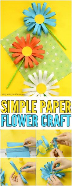 Paper Flower Craft - Easy Peasy and Fun Simple Paper Flower Cr., Paper Flower Craft - Easy Peasy and Fun Simple Paper Flower Craft for KIds Kids Crafts, Crafts For Seniors, Spring Crafts For Kids, Arts And Crafts Projects, Toddler Crafts, Easter Crafts, Senior Crafts, Diy Projects, Easter Art