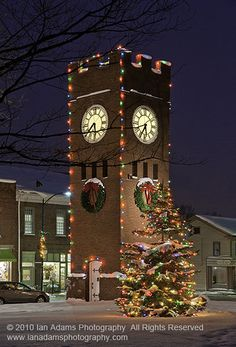 The clock tower all dressed up for Christmas, but where is the mouse?  My hometown Hudson, Ohio.