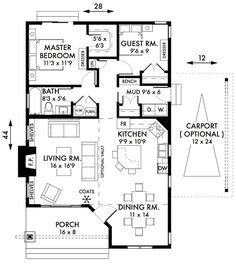 2 Bedroom Cottage Floor Plans | Bedroom-Cabin-Cottage-House-Plans-Floorplan