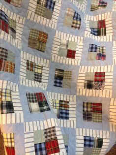 Great way to upcycle men's shirts into a quilt Best Picture For patchwork quilting american For Your Taste You are looking for something, and it is going to tell you exactly what you are looking for, Flannel Quilts, Plaid Quilt, Lap Quilts, Patchwork Quilting, Scrappy Quilts, Shirt Quilts, Mens Quilts, Quilt Baby, Patch Quilt
