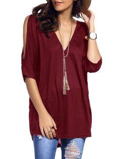T-shirt col V plongeant manche fendue - rouge bordeaux