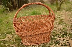 Decorative Handwoven Grocery Basket, Handmade Wicker Basket, Willow Shopping Basket, Country Kitchen Handled Basket