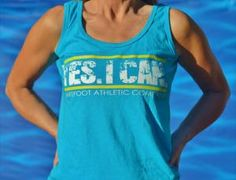 """Yes I Can"" tank in Caribbean Blue leaves no doubt about your intentions! At www.BarefootAC.com."