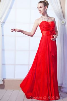 Bow/Ruched Red Sweetheart Chiffon Zipper Train Floor-length Sweep Simple/Elegant A-line Sleeveless Natural Evening Dress