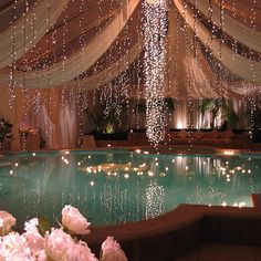 A nice idea to make an indoor pool more glamorous. Decoration with lights, flowers, and Home Design, Design Ideas, Design Design, Design Inspiration, Exterior Design, Interior And Exterior, Luxury Interior, Interior Ideas, Beautiful Homes