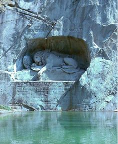 Wounded Lion Sculpture in Honor of Swiss Guards Who Died in the French Revolution - Luzern, Switzerland
