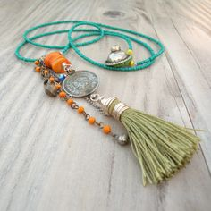 Gypsy Tangle Necklace - Long Colorful Bohemian Beaded Tassel Necklace, Teal and Lime