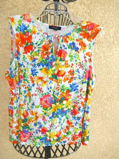 Chaps Blouse Size 2X Top Red Bue White Floral Sleeveless Soft Knit Top Used Good #Chaps #TankCami #Career