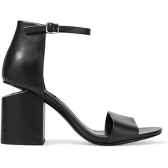 Alexander Wang Abby leather sandals found on Polyvore featuring shoes, sandals, block heel, heels, black, high heel shoes, strappy high heel sandals, black leather sandals, high heeled footwear and strappy sandals