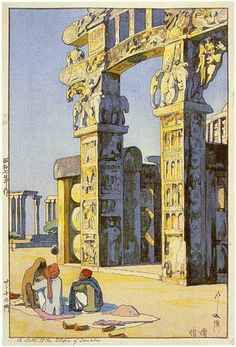 A Gate at the Stupa of Sanchi by Hiroshi Yoshida. 1932