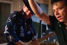 Shortly before Stevie Ray Vaughan's tragic death in August 1990, he and his big brother, Jimmie Vaughan, recorded Family Style, their first (and only) album together.  Below, you can see the Vaughan Brothers—as the duo was called—in the studio together during the making of the album, which was released later that year.