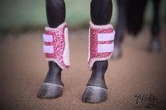 Pink Glitter Split Brushing Boots - model horse tack by Amanda Dionne