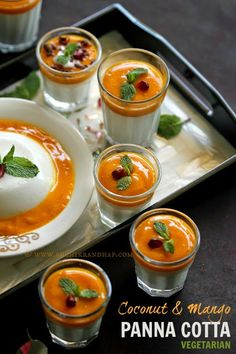 Coconut & Mango Panna Cotta is a delicious dessert that you can make ahead of time. This no-gelatin recipe is perfect for vegetarians. #pannacotta #glutenfree #vegetarian #desserts #mango #coconut #agaragar #mangorecipes #mangodesserts