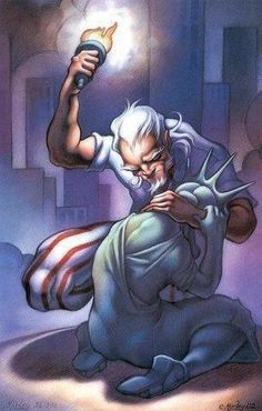 Uncle Sam comforting Lady Liberty