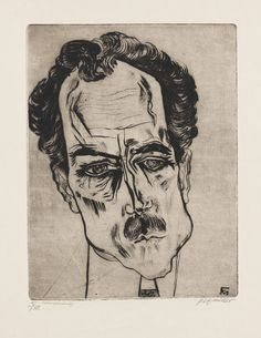 Conrad Felixmüller (1897, Dresden - 1977, Berlin), drypoint, Porträt Justizrat James Broh, 1921.   Felixmüller  German Expressionist painter. One of the youngest members of the New Objectivity movement, Felixmüller was a member of the Communist Party of Germany. His paintings often deal with the social realities of Germany's Weimar Republic. He was mentor to German expressionist, Otto Dix. From 1949 to 1962 he taught at the University of Halle.