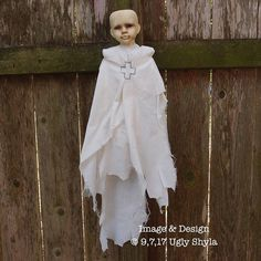 Tattered Ghost Doll by Ugly Shyla Image & Design ©9,7,17  Notes:The doll is meant to be displayed by hanging.It has no arms or legs so the under body has a sort of worm like shape.    Ghostly  Gothic  Art & Collectibles,  Dolls & Miniatures,  Art Dolls,  Goth & Horror Dolls,  ghost,  halloween ,halloween art  ,Primitive Doll  supernatural art, halloween doll,  handmade doll , horror art, gothic home decor,  haunted doll,