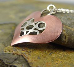 Copper Heart, One of A Kind, Heart Jewelry, Married Metals (Marriage of Metals Technique) Metalsmithing by HapaGirls USA, on Etsy