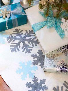 Sparkling Snowflake Christmas Tree Skirt