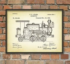Locomotive Patent Wall Art Poster 2 by QuantumPrints on Etsy
