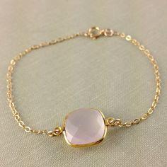 Rose Quartz Bezel Bracelet, Vermeil Gold Gemstone Connector, Dainty, Chrsitmas Gift, Bridesmaid Gift, Wedding, Anniversary Gift, Baby Pink