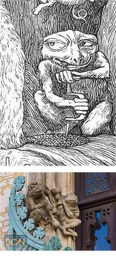 Toad trephines the tail of the beaver. Plate 6 of illustration by Henry Holiday for The Hunting of the Snark by Lewis Carroll 1876 Bottom. Sculpture by Eusebi Arnau on the Casa Amatller. Lewis Carroll, Toad, Hunting, Barcelona, Plate, Sculpture, Illustration, Holiday, Dishes