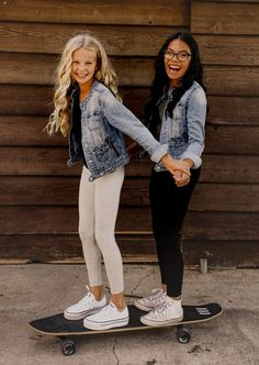HABITUAL WITH OUR GIRLS – MINI FASHION ADDICTS, denim jackets, tween fashion, teen fashion, girl gang, bestie goals, skater vibes, fall fashion, converse