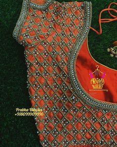 To Order Plz Whatsapp Swipe 👉 to see more of this design Pattu Saree Blouse Designs, Designer Blouse Patterns, Fancy Blouse Designs, Bridal Blouse Designs, Salwar Designs, Cut Work Blouse, Anarkali Lehenga, Maggam Works, Gold Jewelry