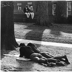 Couple studying on College Green, ca. 1960s :: Ohio University Archives