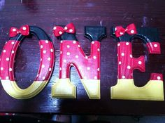 "5"" Hand Painted Wooden Minnie Mouse Letters (or any theme)"