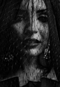 Veil, hidden, portrait, lips, black, girl