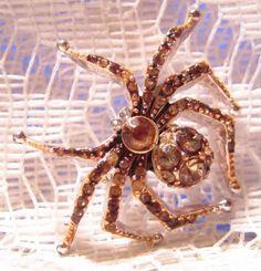 Vintage Rhinestone Spider Brooch by Liz by ViksVintageJewelry, $15.99